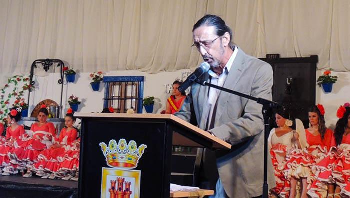 José Manuel Andreu en un momento del pregón de la feria de Taraguilla