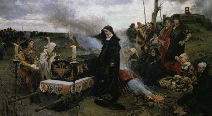 Juana de Castilla velando el cuerpo de su esposo. Obra de Francisco de Pradilla, 1877