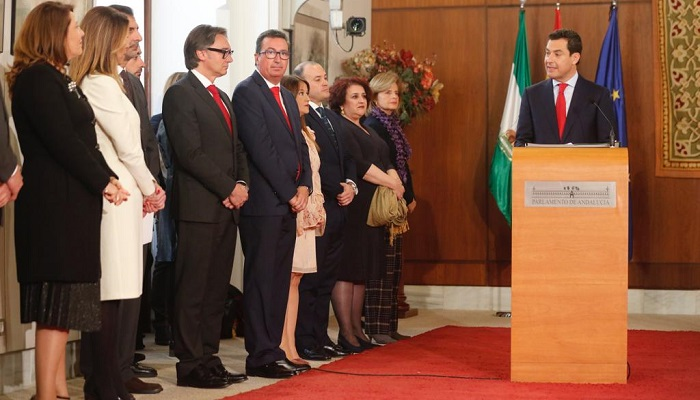 Juanma Moreno, en su discurso tras tomar posesión como presidente de la Junta de Andalucía