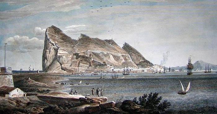 Vista de Gibraltar. Grabado del francés Laborde. Sobre 1806