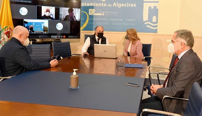 E encuentro telemático presidido por el alcalde de Algeciras. Foto: algeciras.es