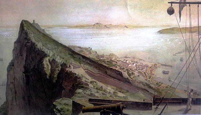 Litografía coloreada de A. Guesdon. Parte alta del Peñón de Gibraltar en 1856