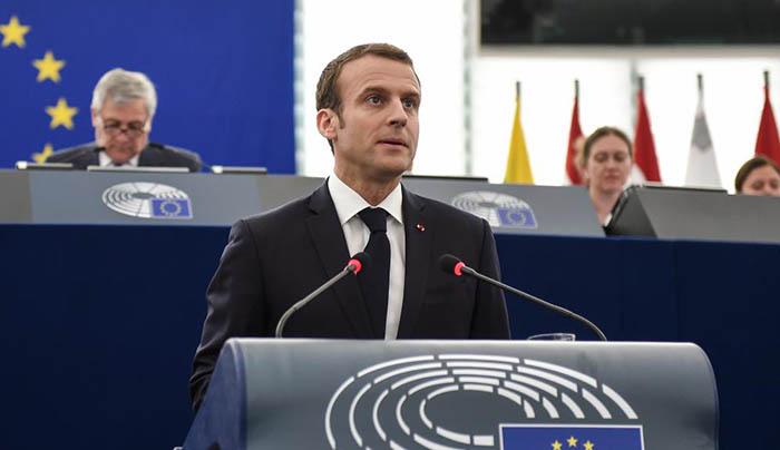 Macron, en el Parlamento Europeo
