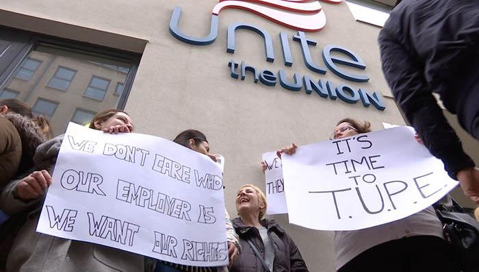Manifestación, hace un mes, de trabajadores afectados