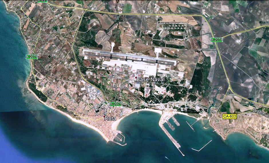 Extensión de la Base de Rota, según imagen pública de Google Earth