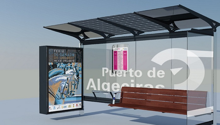 Las paradas de autobuses del puerto de Algeciras contarán con placas solares