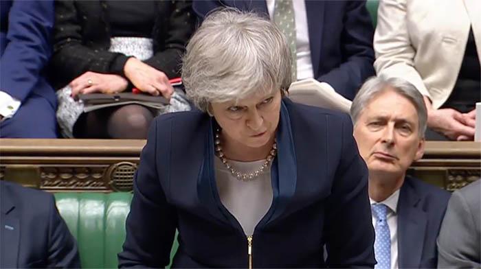 Theresa May, en la sesión de hoy en la Cámara de los Comunes