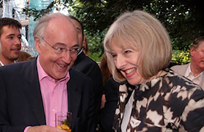 Michael Howard y Theresa May, en la fiesta de The Spectator en 2014