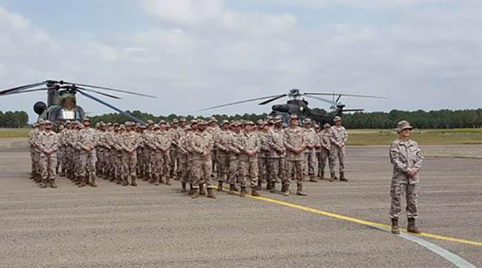 El contingente que desplegará en Irak, con la comandante Gallego al frente. Foto: Ejército de Tierra