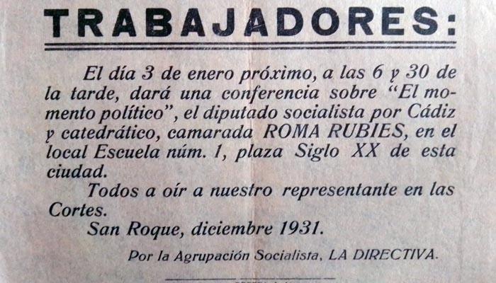 Mitin en San Roque del diputado socialista Roma Rubíes (Archivo del autor)