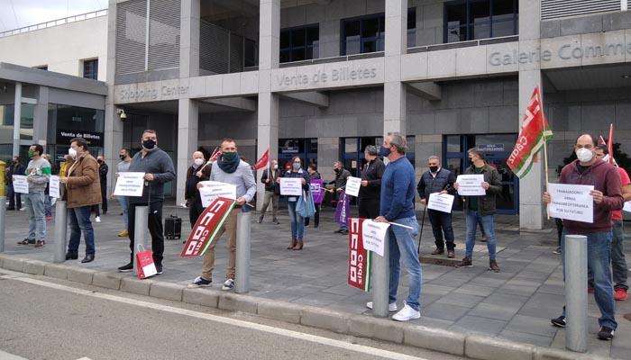 Imagen de la concentración del sindicato CCOO en el Puerto de Algeciras
