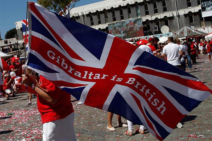 Bandera reivindicativa durante la celebración del Día Nacional de Gibraltar