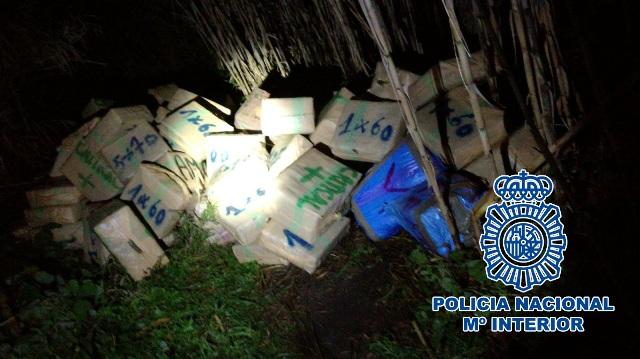 Imagen de droga incautada por la Policía Nacional el pasado mes de enero en La Línea