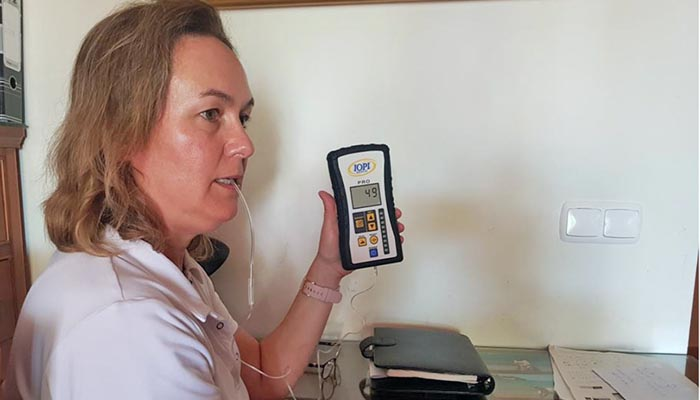 Una de las pacientes en el estudio de la apnea