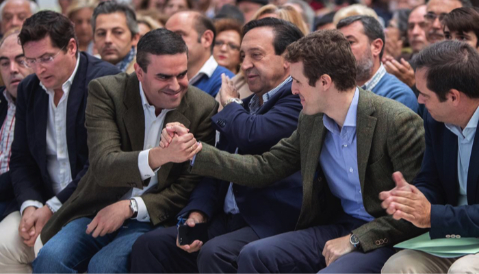 José Ortiz con Pablo Casado en un reciente acto en Jerez de la Frontera
