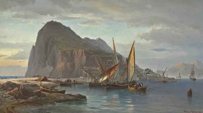Pescadores de La Línea en un cuadro de Vilhelm Melbye, en 1880