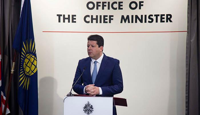 Picardo durante la declaración institucional de hoy. Foto InfoGibraltar