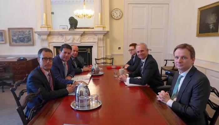 Picardo, García y Llamas, en la reunión con el ministro Lidington