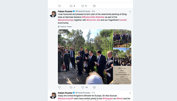 Captura de pantalla del tuiter de Fabian Picardo