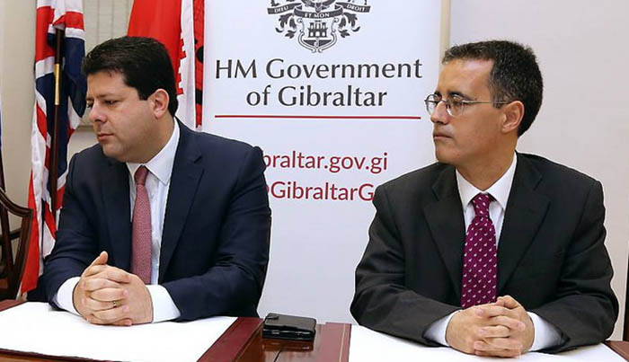 Picardo y García, en un acto del gobierno de Gibraltar