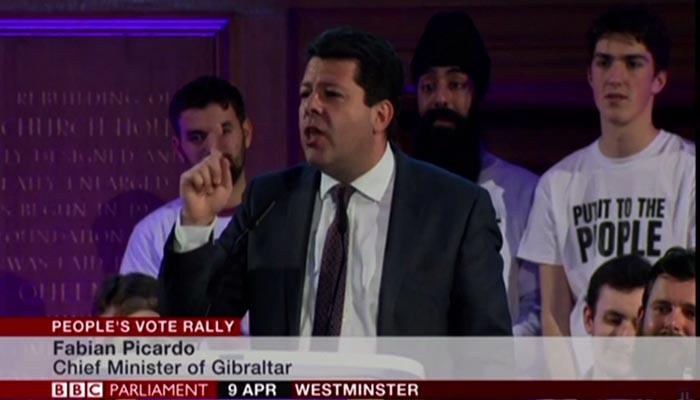 Fabian Picardo durante su intervención en Londres