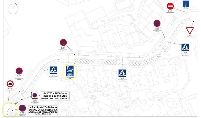 El plano de la zona de aparcamientos difundida por el Ayuntamiento de La Línea. Foto: NG