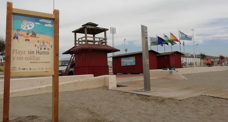 Uno de los módulos de vigilancia y socorrismo en la Playa de 'Santa Bárbara'
