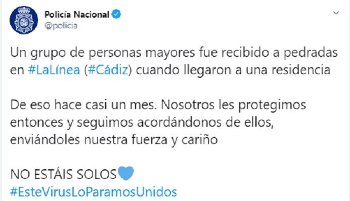 Una captura de la publicación en Twitter de la Policía Nacional