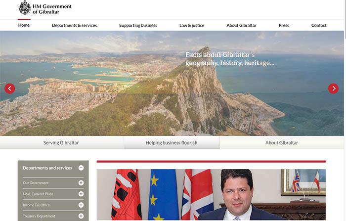 Portal de la web del gobierno de Gibraltar antes del ataque informático