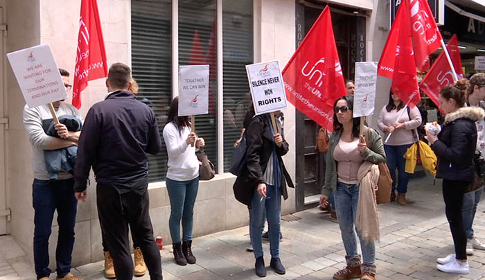 Reciente protesta laboral en Gibraltar en defensa de los contratos