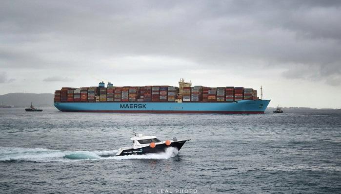 Un barco de Maersk en el Puerto de Algeciras