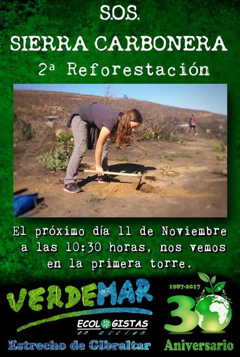 Cartel del acto de reforestación organizado por Verdemar y SOS Sierra Carbonera
