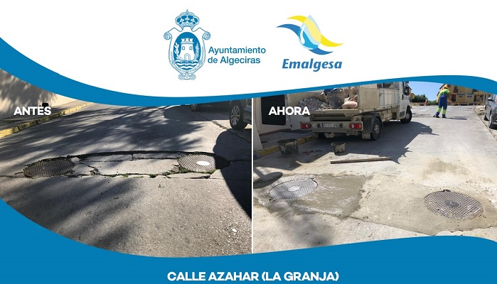 El Ayuntamiento repara la calzada de la calle Azahar en La Granja