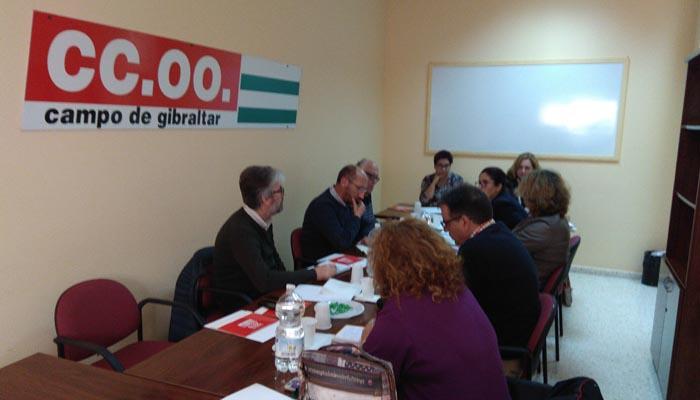 Imagen de archivo de una reunión de la ejecutiva comarcal. Foto CCOO