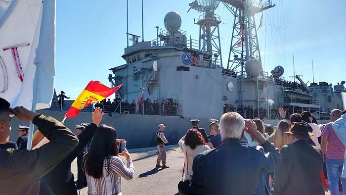 """La fragata """"Santa María"""" a su llegada a la base de Rota. Foto Cuartel General de la Flota"""