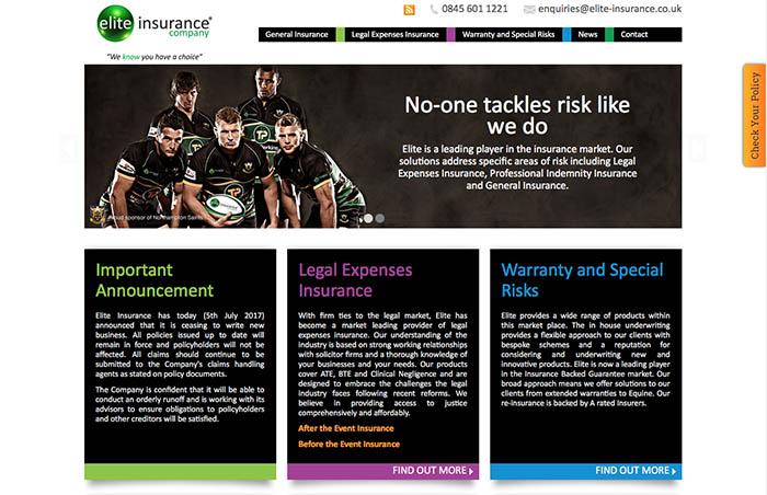 Página web corporativa de Seguros Elite donde se anuncia el cese de contrataciones