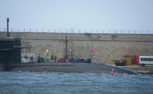 Imagen ofrecida por Verdemar sobre un submarino en Gibraltar