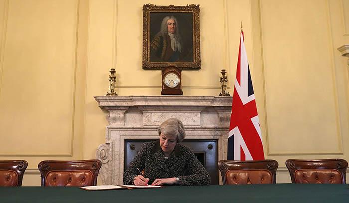 Theresa May el día que firmó la comunicación oficial de la salida británica de la UE