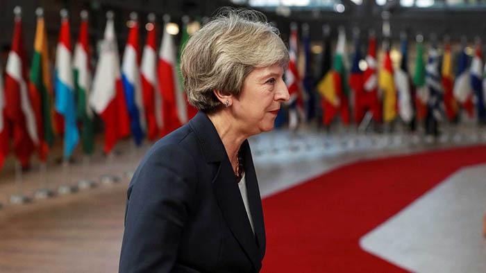 Theresa May pasa junto a las banderas de los socios comunitarios