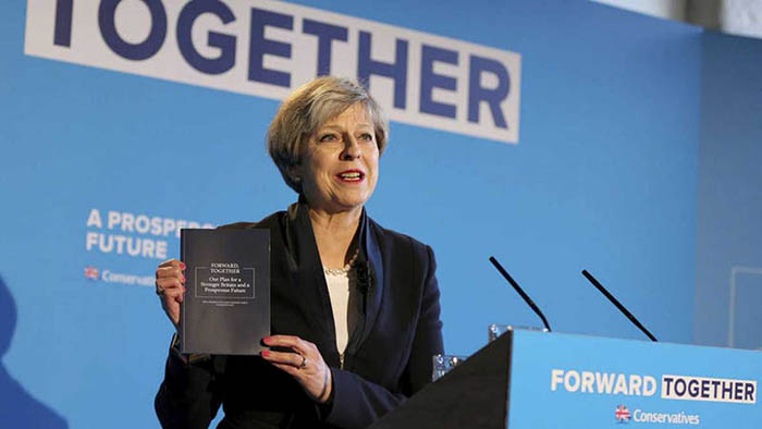Theresa May, durante la campaña del Partido Conservador