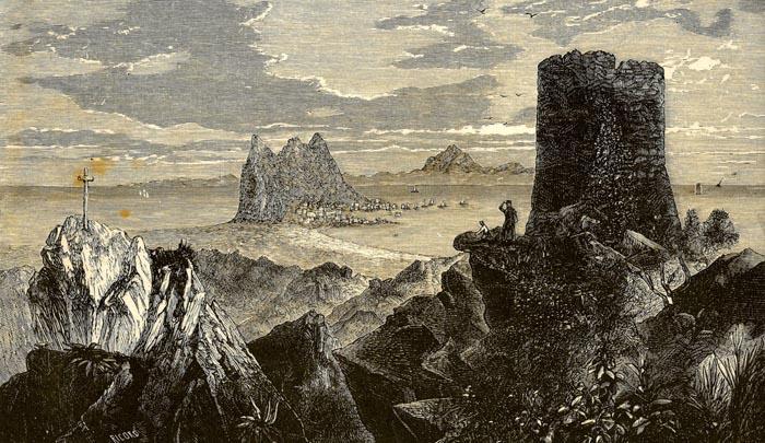 Grabado de las desaparecidas torre y cruz de Sierra Carbonera, de las que da noticia Valverde