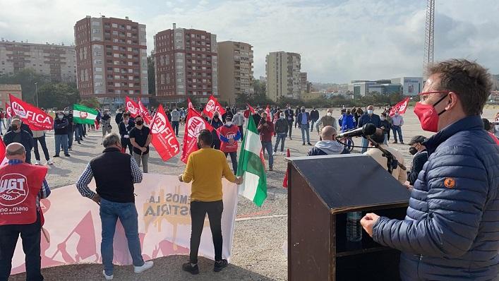 Un momento de la concentración de esta tarde. Foto: UGT FICA