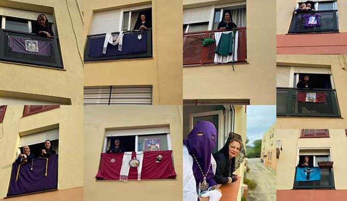 Miembros de cofradías en la urbanización Al-Ándalus
