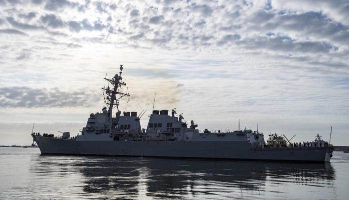 El USS 'Roosevelt' zarpando de la base de Mayport, ayer sábado. Foto US Navy / Nathan Beard