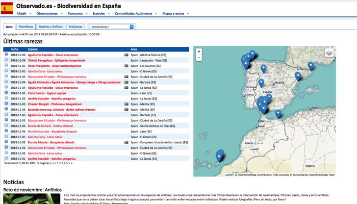 Página de inicio de la web española de Observado