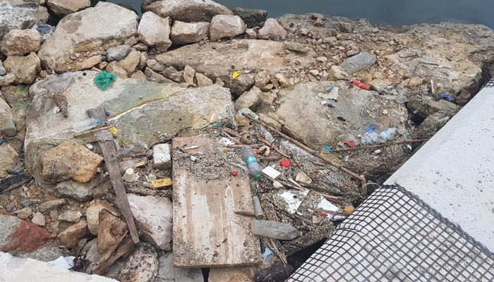 Imagen de la basura en la dársena de El Saladillo