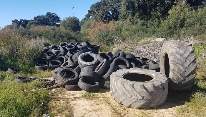 Verdemar vuelve a denunciar este vertedero de neumáticos usados en San Roque