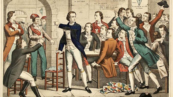 Estampa francesa del siglo XIX donde aparece  vestimenta de la época