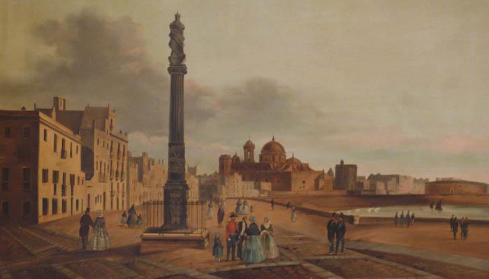 Vista de Cádiz en el siglo XIX. Parte conocida como Banda del Vendaval, hoy Camino del Sur. Museo de las Cortes de Cádiz