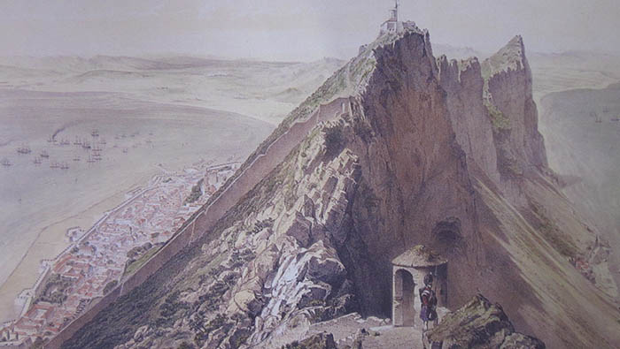 Vista del Peñón de Gibraltar en 1856. Dibujo y litografía de A. Guesdon. Museo Naval. Madrid